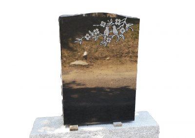 Monuments Bernard Longpré Inc. - Monument gravure oiseaux et fleurs